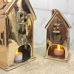 Подсвечник домик керамический 17 см золотой Ewax