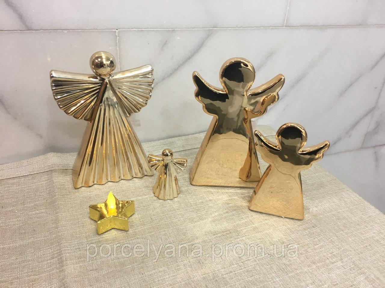 Ангел керамический 7 см золотой волнистый Ewax