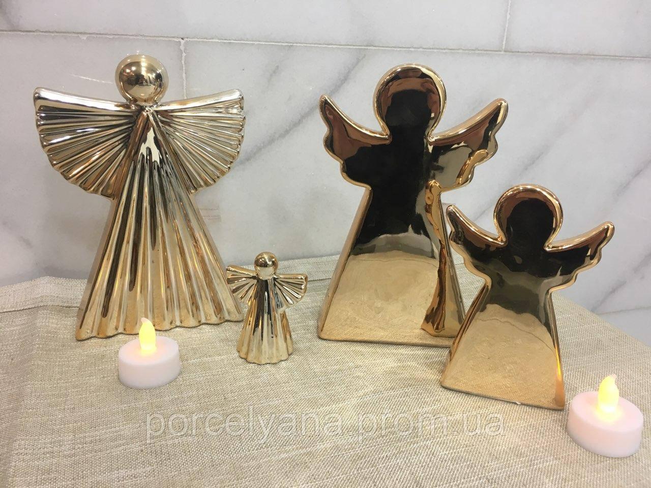 Ангел керамический 19 см золотой волнистый Ewax