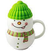 Чашка с силиконовой крышкой Веселый Снеговик, салатовая, 400 мл.