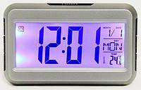 Настольные часы-будильник с термометром,подсветкой 2616