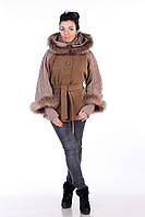 Пальто с натуральным мехом енот  в 2х цветах Эльза