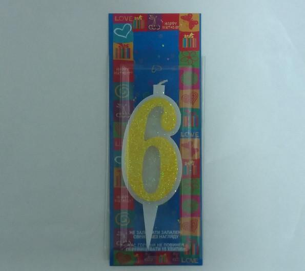 """Свічка в торт Свічка в торт Жовта з блиском """"6"""" 9.5 x 3.5 x 1.0 см"""