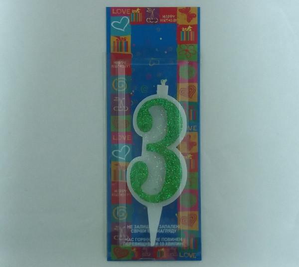 "Свічка в торт Свічка в торт Зелена з блиском ""3"" 9.5 x 3.5 x 1.0 см"