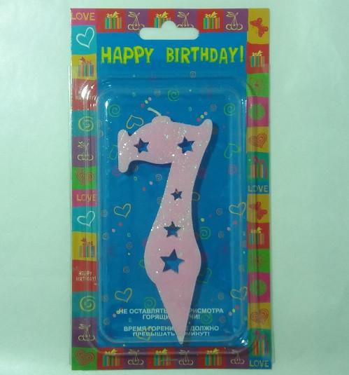 """Свічка в торт Свічка в торт Рожева """"7"""" Big size 11.5 x 4.8 x 0.9 см"""