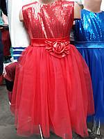 Нарядное платье для девочки с паетками оптом
