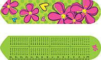 """Закладка для книг картонная """"Flowers"""" 2D с линейкой 15 см"""