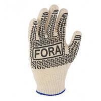 Перчатки рабочие белые с рисунком ПВХ точкой, 7 размер Doloni 1/10/300