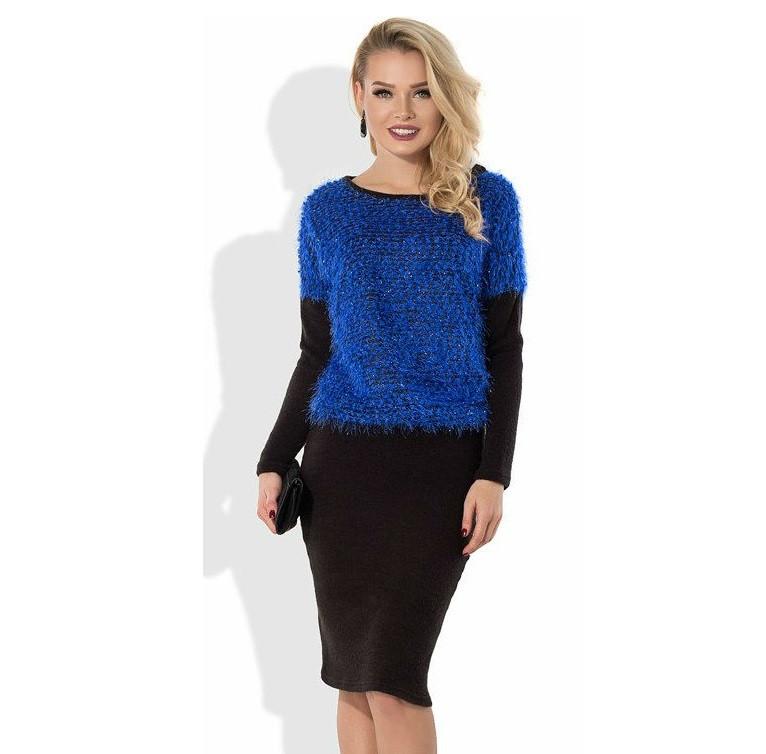 Зимнее платье из ангоры с верхом из синей травки