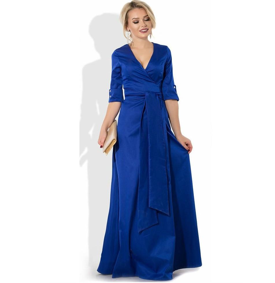 c9d1ae1f1eb8954 Синее платье макси в пол на запах - Lace Secret - Магазин женского белья и  одежды