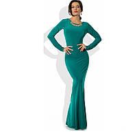Бирюзовое платье русалка в пол с украшением