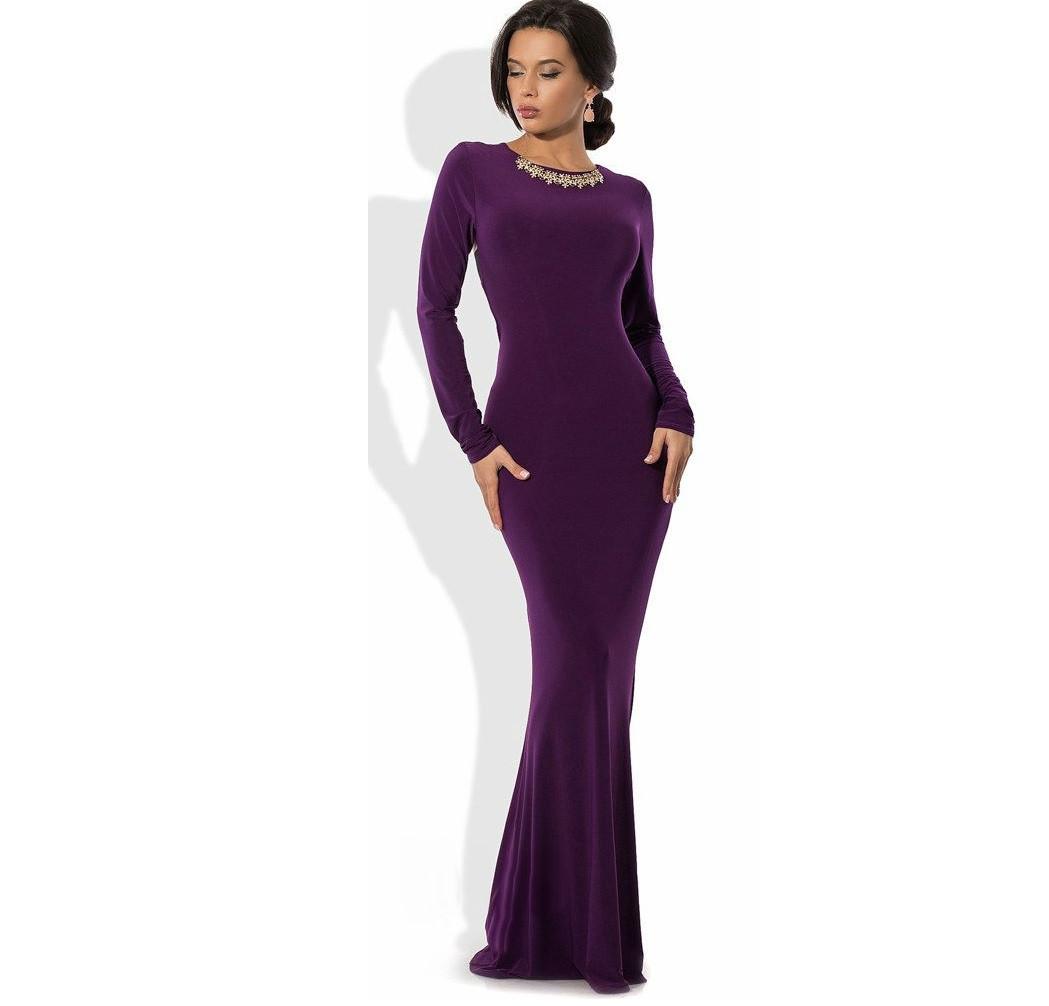 Фиолетовое платье русалка в пол с украшением