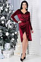 Элегантное бархатное платье по пояс цвета бордо. АРТ-1043.1