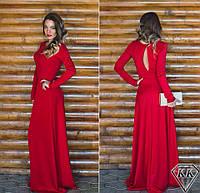Длинное платье в пол с разрезом на спине