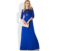 Синее вечернее платье ампир с верхом из люрекса