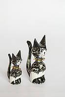 Пара котов деревянных высота 12 и 9 см