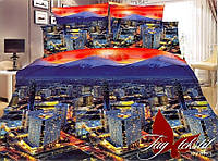Постельное белье евро Поликоттон 3D  Мегаполис №2