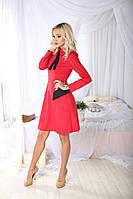 Стильное платье с галстуком (красное). АРТ-1045.6