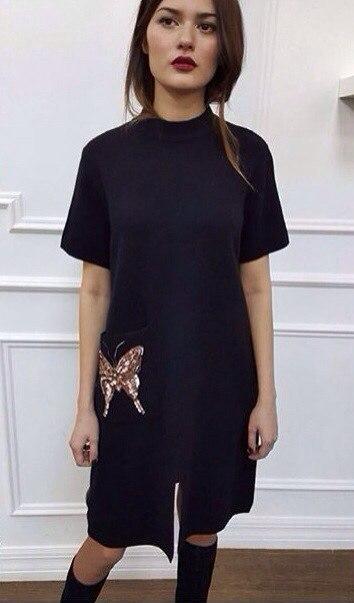 b66d92c71eb8e70 Трикотажное чёрное платье с вышивкой из пайеток - Интернет-магазин «Вивант»  в Одессе