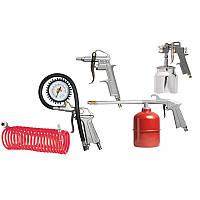Набор пневмоинструмента, 5 предметов, быстросъемное соед., краскорасп. с нижним бачком// MTX 57302