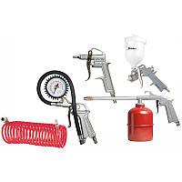 Набор пневмоинструмента, 5 предметов, быстросъемное соед., краскорасп. с верхним бачком// MTX 57304