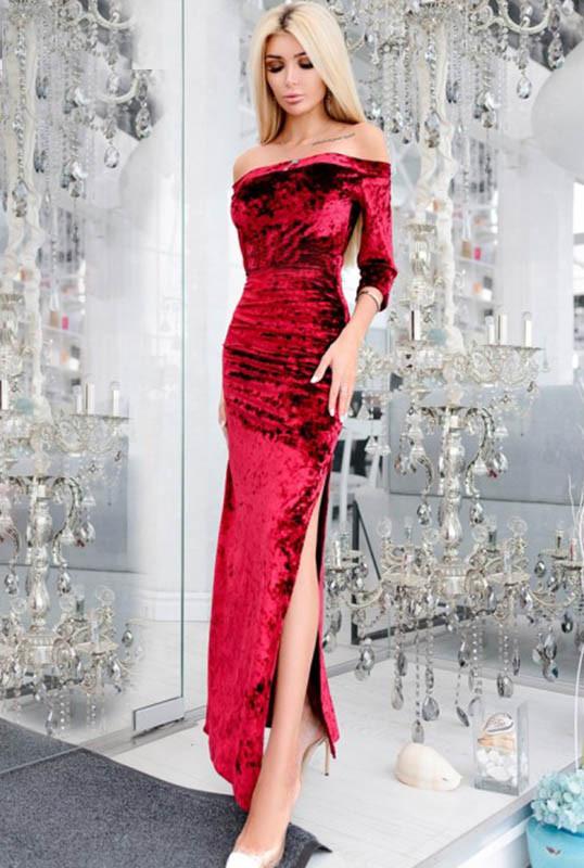 Вечірній велюрову сукню -КАРМЕЛА - марсала