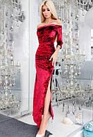 Вечернее велюровое платье  -КАРМЕЛА- марсала