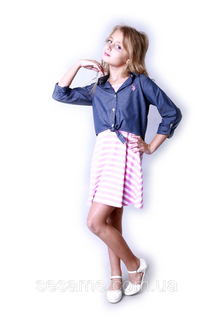 Детский сарафан и рубашка pink, US. POLO ASSN.