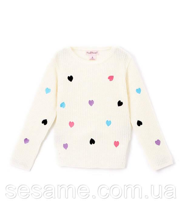 Детский теплый свитер сердечки белый для девочки, 0173