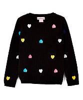 Детский теплый свитер сердечки черный для девочки, 0174, фото 1