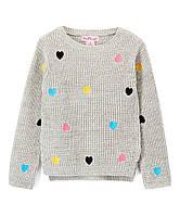 Детский теплый свитер сердечки серый для девочки, 0175
