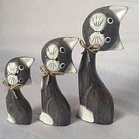 Статуэтка семья кошек деревянная высота 12,16,20 см