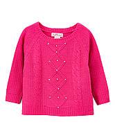 Детский теплый свитер фуксия с бусинками для девочки, 0176, фото 1
