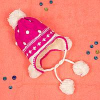 Вязаная шапка для девочки с мехом внутри на завязках фуксия CMF W16-17 02 Fuxia