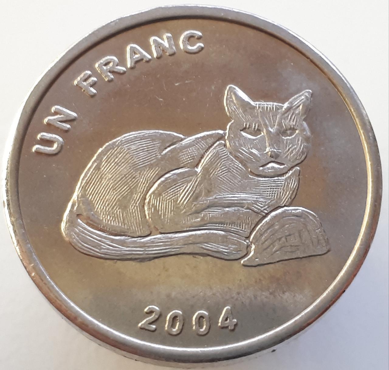 Демократическая Республика Конго 1 франк 2004 - Золотая кошка