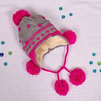 Вязаная шапка для девочки с мехом внутри на завязках серая CMF W16-17 03 Gray
