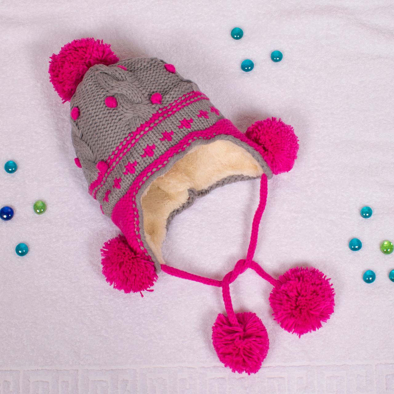 Вязаная шапка для девочки с мехом внутри на завязках серая CMF W16-17