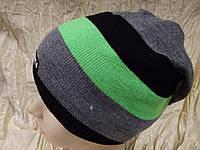 Спортивная вязаная шапка цвет полосок черный серый зеленый