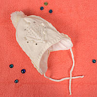 Вязаная шапка для девочки с флисом внутри на завязках белая CMF W16-15 01 White