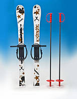 Лыжи белые с рисунком 90 см
