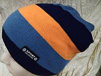 Вязаная спортивная  шапка цвет полосок черный синий оранжевый