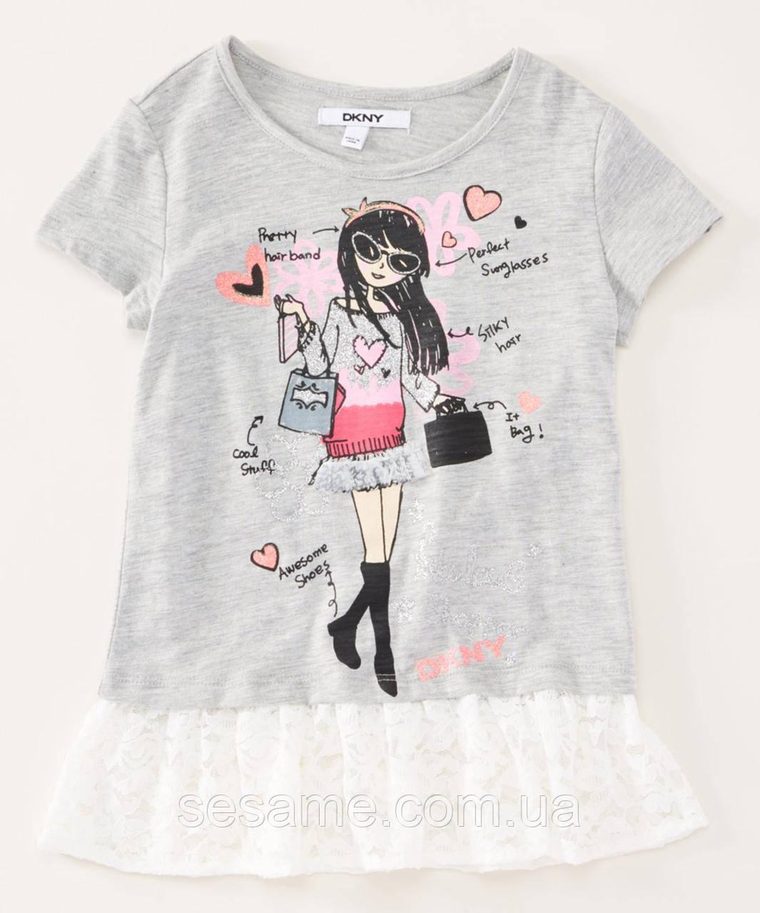 Детская футболка DKNY серая для девочки, 0182