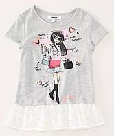 Детская футболка DKNY серая для девочки, 0182, фото 1