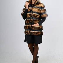 Жилет-полушубок из натурального меха хорька с кожаными вставками от производителя, фото 2