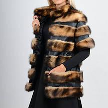 Жилет-полушубок из натурального меха хорька с кожаными вставками от производителя, фото 3