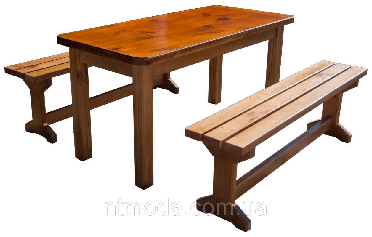 Стол деревянный с лавками. СД-002-1