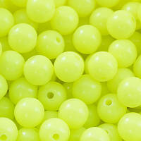 Бусины акриловые круглые неоновые, цвет желтый УТ0027442