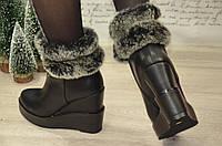 Зимние ботинки с мехом на танкетке, 37, 38р