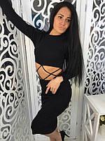 Стильное женское платье с разрезами на талии