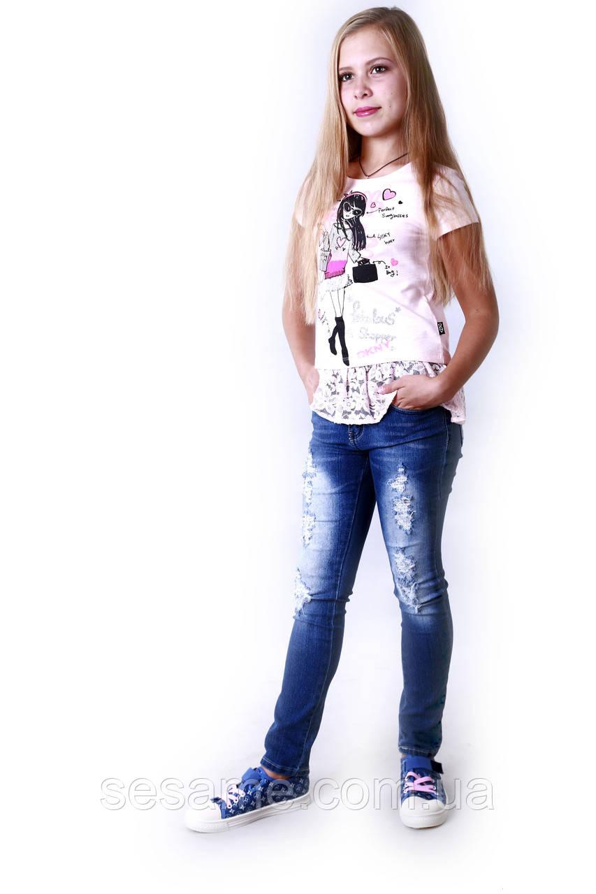 Підліткові джинси стрейч рвані для дівчинки, 0185